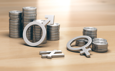 3D illustration of male and female symbols with 2 piles of coins a small one for women and a larger one for men. Stock Photo