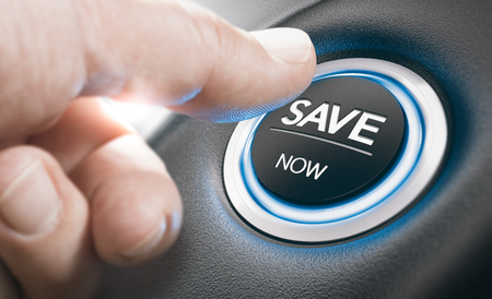 Man pushing a start button with the text save now. Concept of car offers or discount. Composite image between a finger photography and a 3D background. Stock Photo