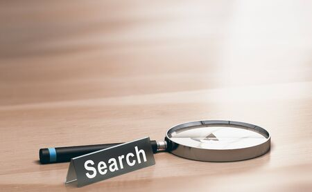 3D illustration of a magnifying glass and a plastic sign with the word search over wooden background.
