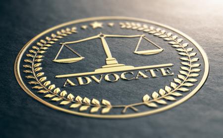 3D illustration of an advocate golden symbol. Embossed black paper. Stock Photo