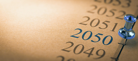 21th century time line and blue pushpin with focus on the year 2050