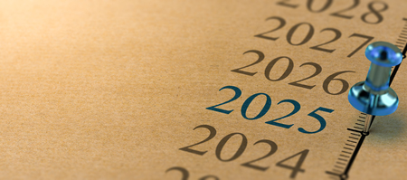 21th century time line and blue pushpin with focus on the year 2025