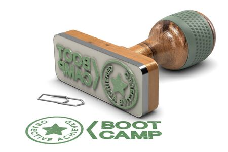 3D illustration of rubber stamp over white background with the text Boot Camp and Objective Achieved. Stock Illustration - 97238944