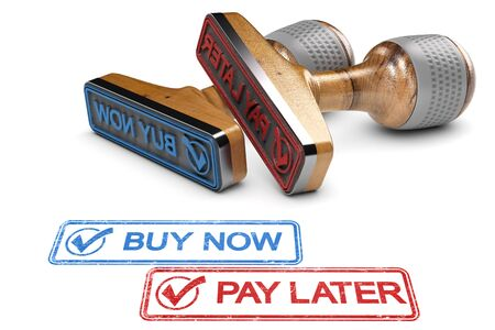 Sale offer concept. Two Rubber stamps with the text buy now and Pay later over white background. 3D illustration Foto de archivo - 97240423