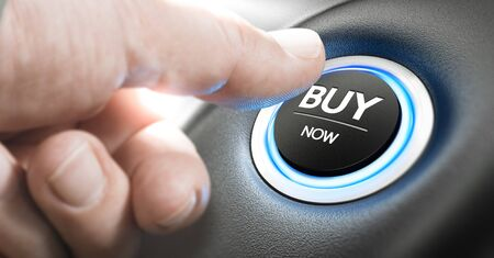 Man pushing a car start button with the text buy now. Call for action concept. Composite image between a finger photography and a 3D background.