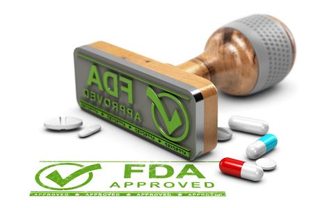 Geneesmiddelen goedkeuring concept. Rubberzegel met de goedgekeurde tekst FDA en pillen over witte achtergrond. 3D illustratie