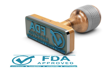 Drugs or products approval concept. Rubber stamp with the text FDA approved over white background. 3D illustration