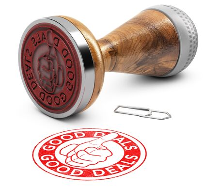 Sale offer concept. Rubber stamp with the text good deals and a hand with thumb up over white background. 3D illustration