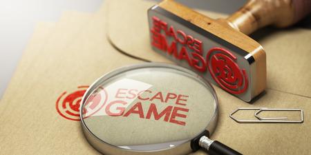 Enveloppe kraft avec énigme à l'intérieur et le mot escape game estampé dessus. Banque d'images