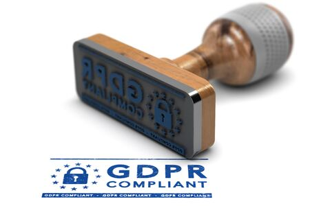 EU General Data Protection Regulation Compliance. Rubber stamp with the text GDPR Compliant over white background. 3D illustration Banque d'images - 99058016