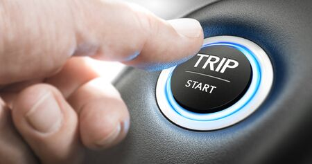 Thumb about to press a start button to begin a business trip. Composite image between a hand photography and a 3D background. Stock Photo
