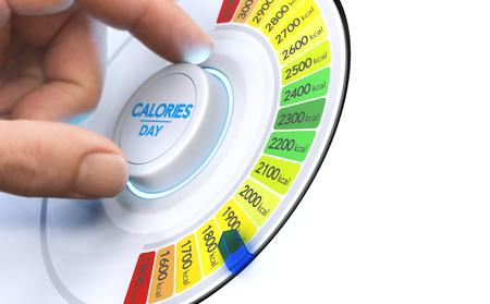 Man draait aan een calorieknop om het dagelijkse inname niveau te verlagen. Samengesteld beeld tussen handfotografie en een 3D-achtergrond.