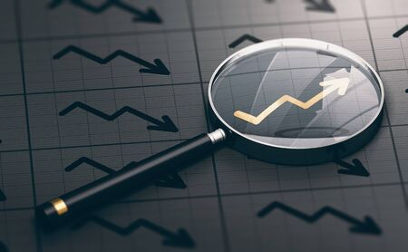 3D illustration of a magnifying glass over a golden positive chart symbol. Concept of investing opportunities and excellent investment. Stock Photo