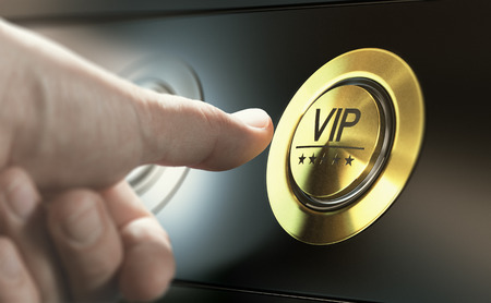 Man with private access to VIP services pressing a button to ask a concierge. Composite image between a hand photography and a 3D background. Stock Photo