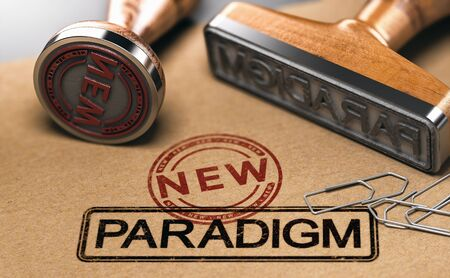 Rubber stamps with the words new and paradigm over brown paper background. 3D illustration