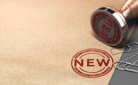Rubber stamp with the word new over paper background. 3D illustration