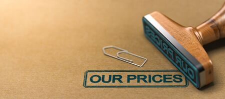 Rubber stamp with the text our prices over brown paper background. 3D illustration Stock Photo