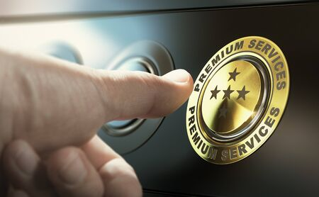 Man upgrading to premium service by pressing a golden button. Composite image between a hand photography and a 3D background.