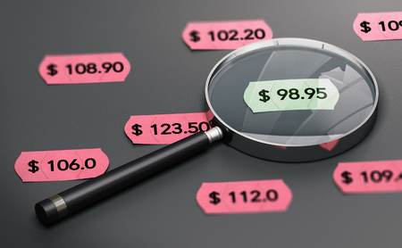 3d illustration of a magnifying glass over black background with price tags and focus on the cheapest one.