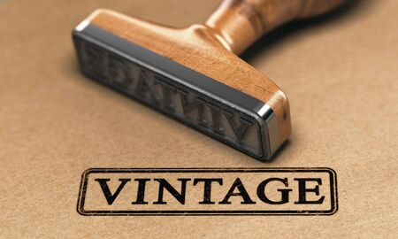 Rubber stamp with the text vintage over brown paper background. 3D illustration