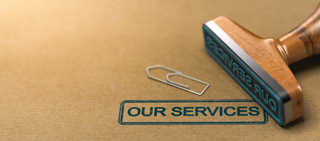 Rubber stamp with the text our services over brown paper background. 3D illustration
