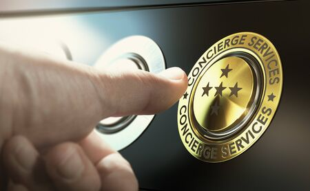 Man contacting concierge service by pushing a golden button. Composite image between a hand photography and a 3D background. Stock Photo