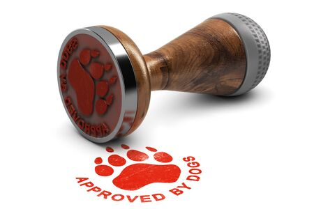 Rubber stamp with the text approved by dogs over white background. 3D illustration. Concept of pets grooming or training satisfaction Foto de archivo - 99747804