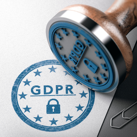 GDPR mark imprinted on a paper background with rubber stamp. Concept of European Data Protection Management Compliance. 3D illustration 스톡 콘텐츠