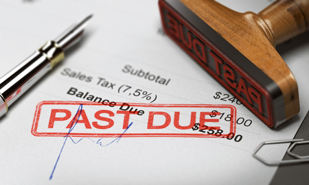 Rubber stamp with the text past due over an invoice document. 3D illustration. Concept of unpaid debt recovery.