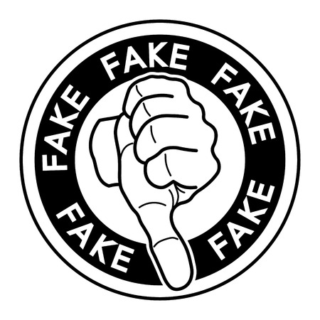 Vector silhouette of a black fake tag over white background. Fact checking concept.  Stock Photo