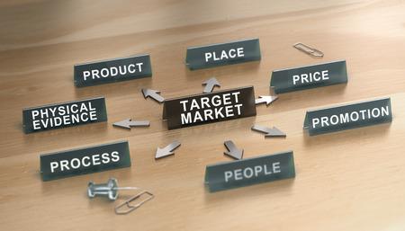 3D illustration of marketing mix 7p model over wooden background. Target market Concept Stock Photo