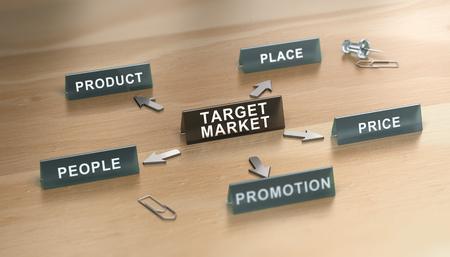 3D illustration of marketing mix 5p model over wooden background. Target market Concept