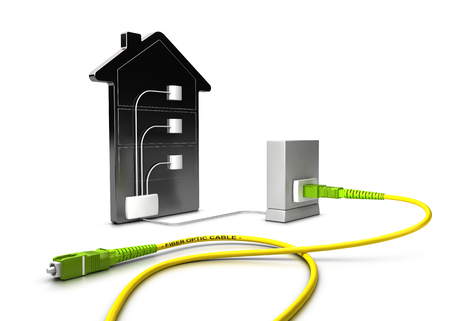 3D-Darstellung eines FTTC-Netzwerks (Fibre to The Curb) für einen hohen Breitbandzugang über weißem Hintergrund
