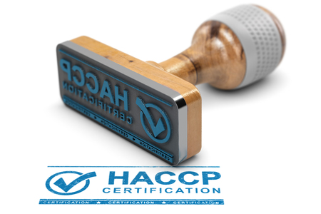 Rubber stamp with the text HACCP certification stamped over white background. 3D illustration.