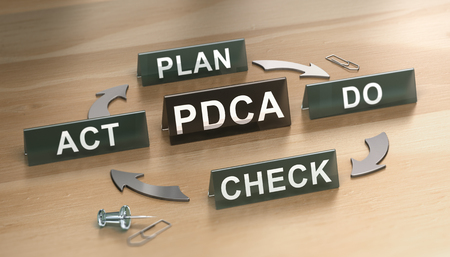3D illustration of PDCA cycle (plan, Do, check and Act) over woodden background. Concept for lean manufacturing Stock Photo