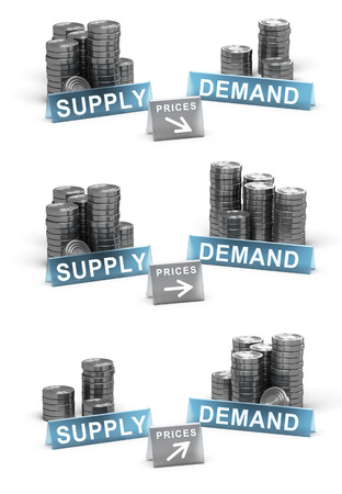 3D illustration of supply and demand principle. Generic coins over white background with prices directions Stock Photo