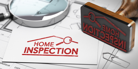 3D illustration of home inspector business card with rubber stamp, magnifier and blueprint
