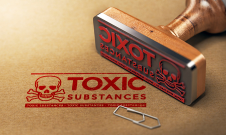 3D illustration of a rubber stamp with the text toxic substances stamped on paper background Stock Photo