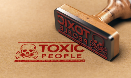 3D illustration of a rubber stamp with the text toxic people stamped on paper background. Concept of manipulative person.