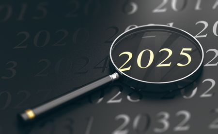 3D illustration of year 2025 written in golden letters and a magnifying glass over black background