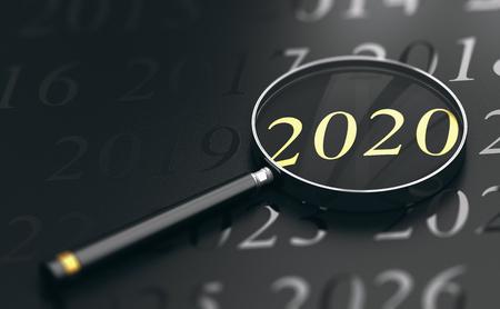 Illustration 3D de l'année 2020 écrite en lettres dorées et une loupe sur fond noir