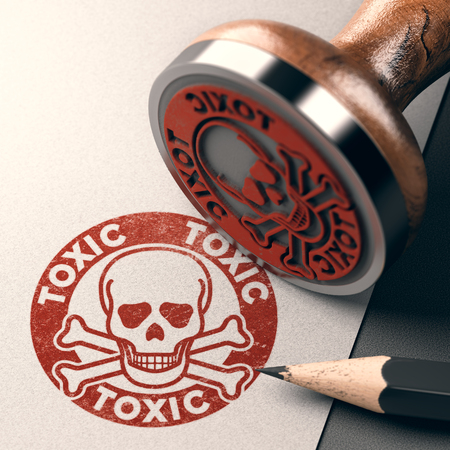 3D illustration of a rubber stamp with skull, bones and the text toxic stamped on paper background