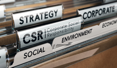 Illustrazione 3D di una cartella e focus su una scheda con l'acronimo CSR, Corporate Social Responsibility. Immagine concettuale. Archivio Fotografico