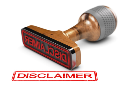 3D illustration of a rubber stamp with the word disclaimer stamped over white background. 版權商用圖片