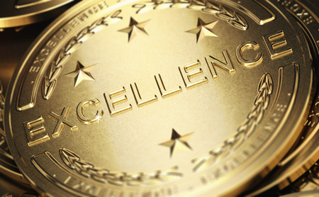 Close up of a golden medal with the word excellence written in relief. Concept of accomplishment. 3D illustration