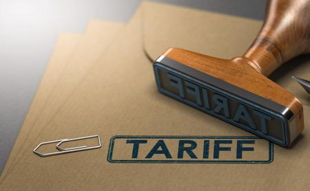 3D-Illustration eines Stempels mit dem Worttarif gestempelt auf Papierhintergrund. Konzept der Steuern oder Abgaben auf eingeführte Waren. Standard-Bild