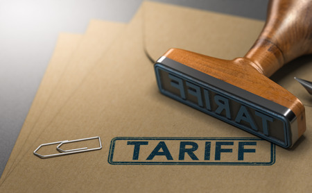3D illustration of a rubber stamp with the word tariff stamped on paper background. Concept of taxes or duties on imported goods. Stock Photo