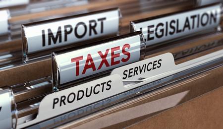 Schließen Sie auf einer Ordnerregisterkarte mit den Wörtern Steuern Import und Gesetzgebung. Konzept des wirtschaftlichen Protektionismus.
