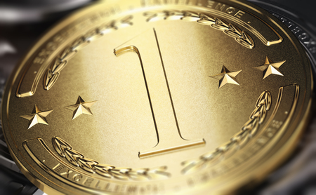 Close up of a golden medal with the number one written in relief. 3D illustration