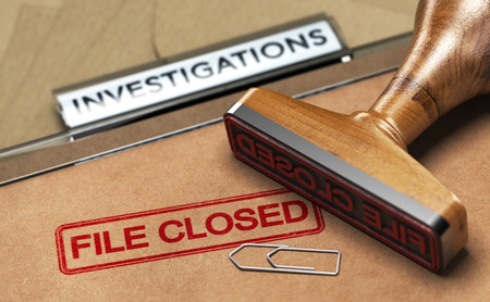 3D illustration of an investigation file with a rubber stamp and the word file closed. Concept of unsolved investigations 스톡 콘텐츠